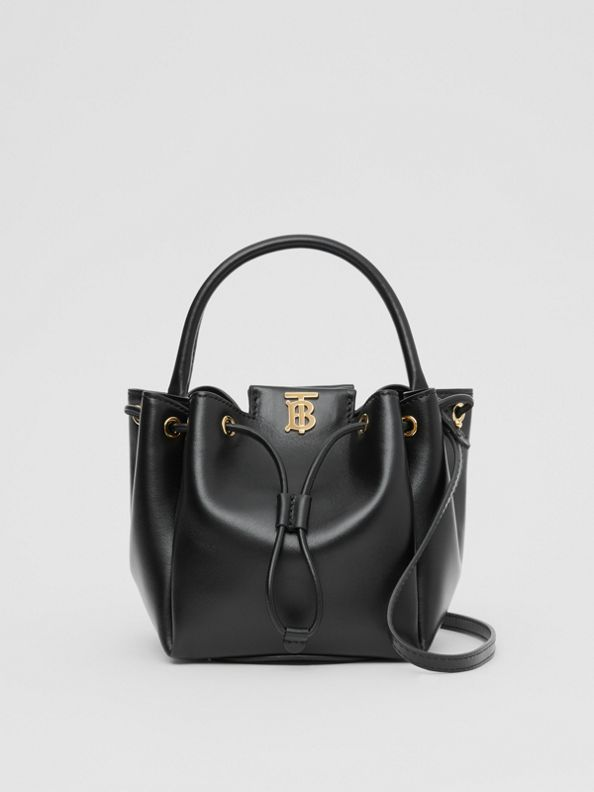 Monogram Motif Leather Bucket Bag in Black