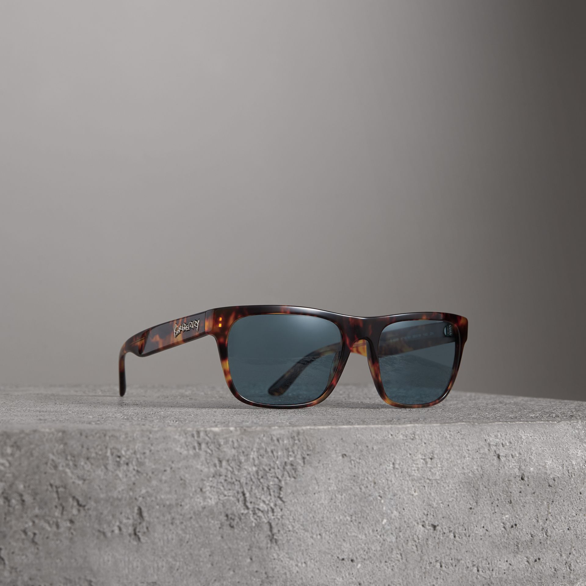 Doodle Square Frame Sunglasses in Brown - Men | Burberry Australia - gallery image 0
