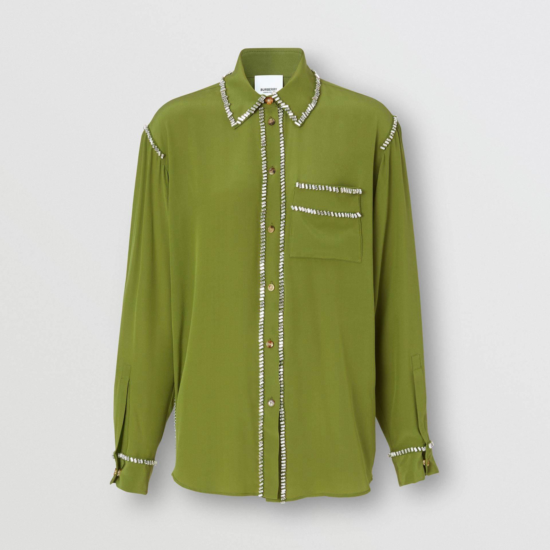 Embellished Silk Oversized Shirt in Cedar Green - Women | Burberry - gallery image 3