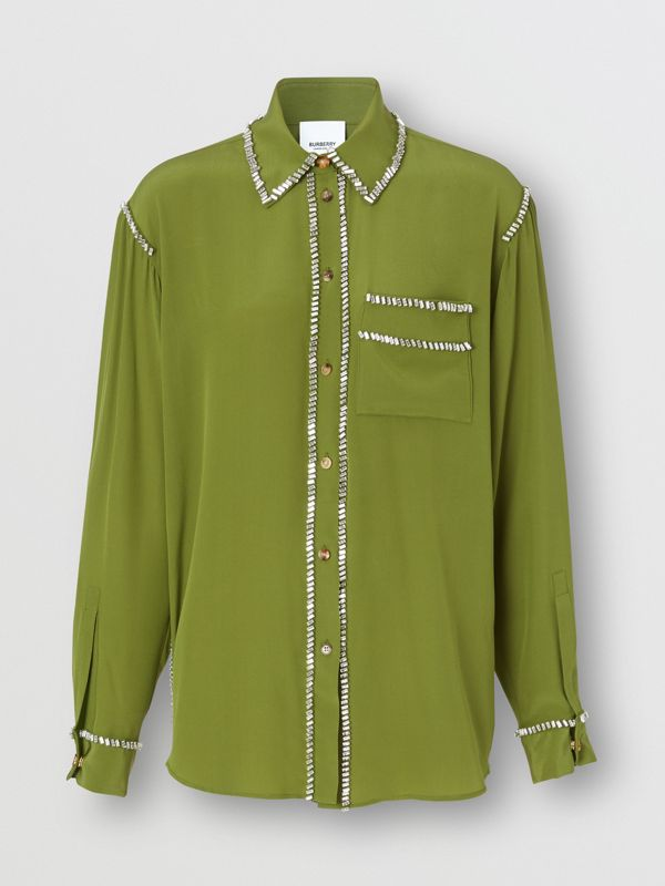 Embellished Silk Oversized Shirt in Cedar Green - Women | Burberry - cell image 3