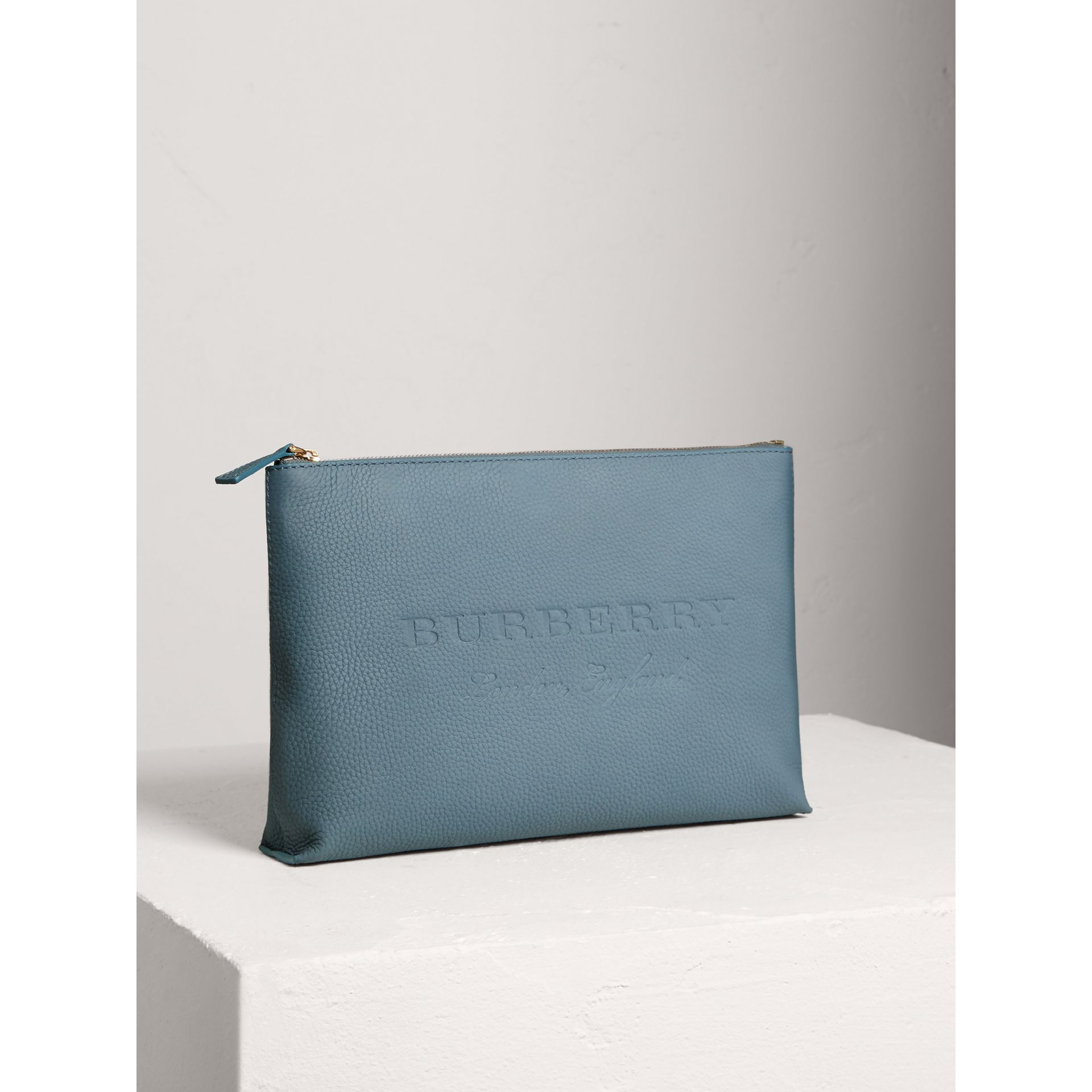 Large Embossed Leather Zip Pouch in Dusty Teal Blue | Burberry - gallery image 4