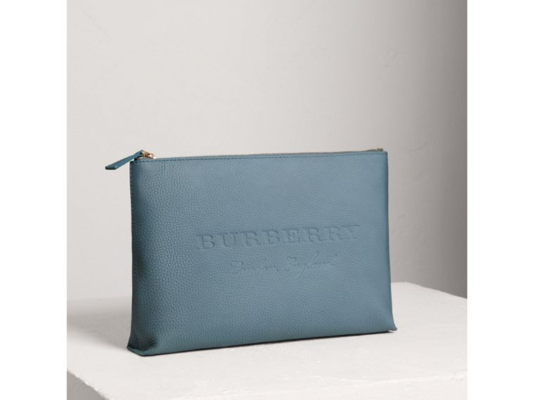 Large Embossed Leather Zip Pouch in Dusty Teal Blue | Burberry - cell image 4