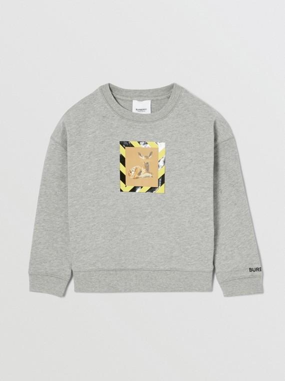 Deer Print Cotton Sweatshirt in Grey Melange