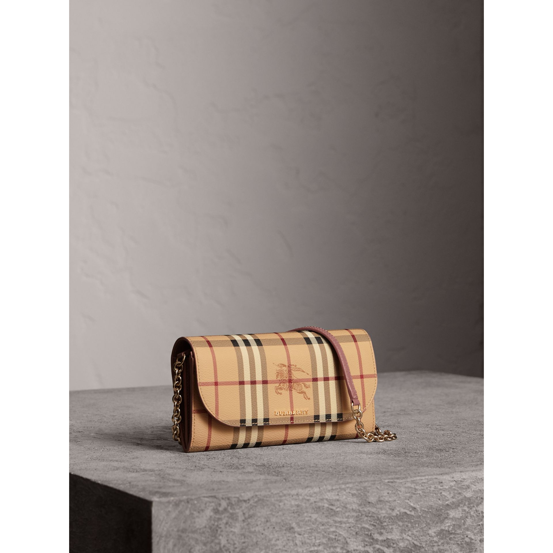 Leather Trim Haymarket Check Wallet with Chain in Light Elderberry - Women | Burberry - gallery image 1