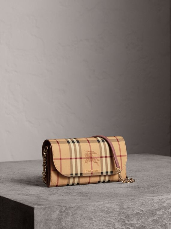 Leather Trim Haymarket Check Wallet with Chain in Light Elderberry - Women | Burberry Canada