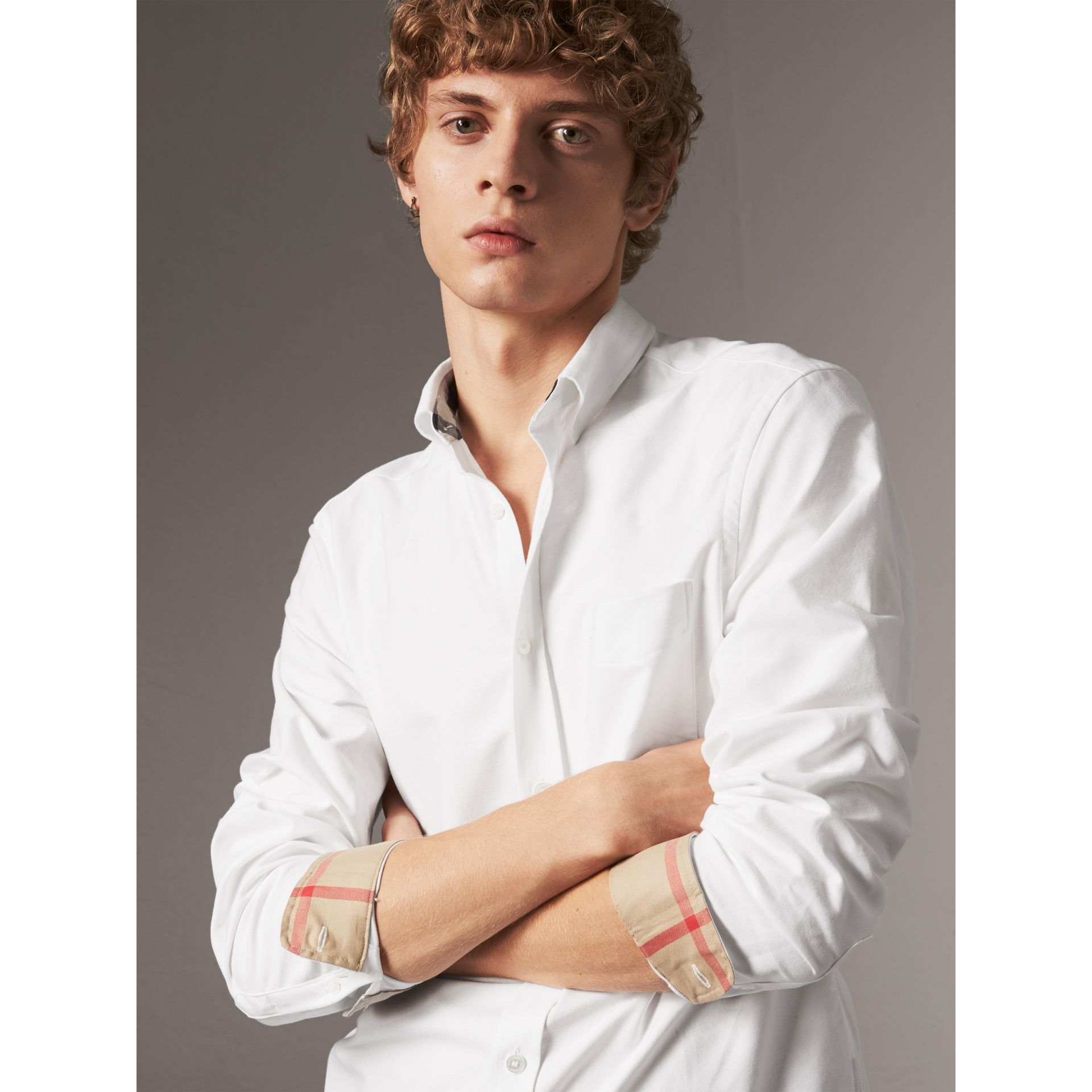 Check Detail Cotton Oxford Shirt in White - Men | Burberry Canada - gallery image 2