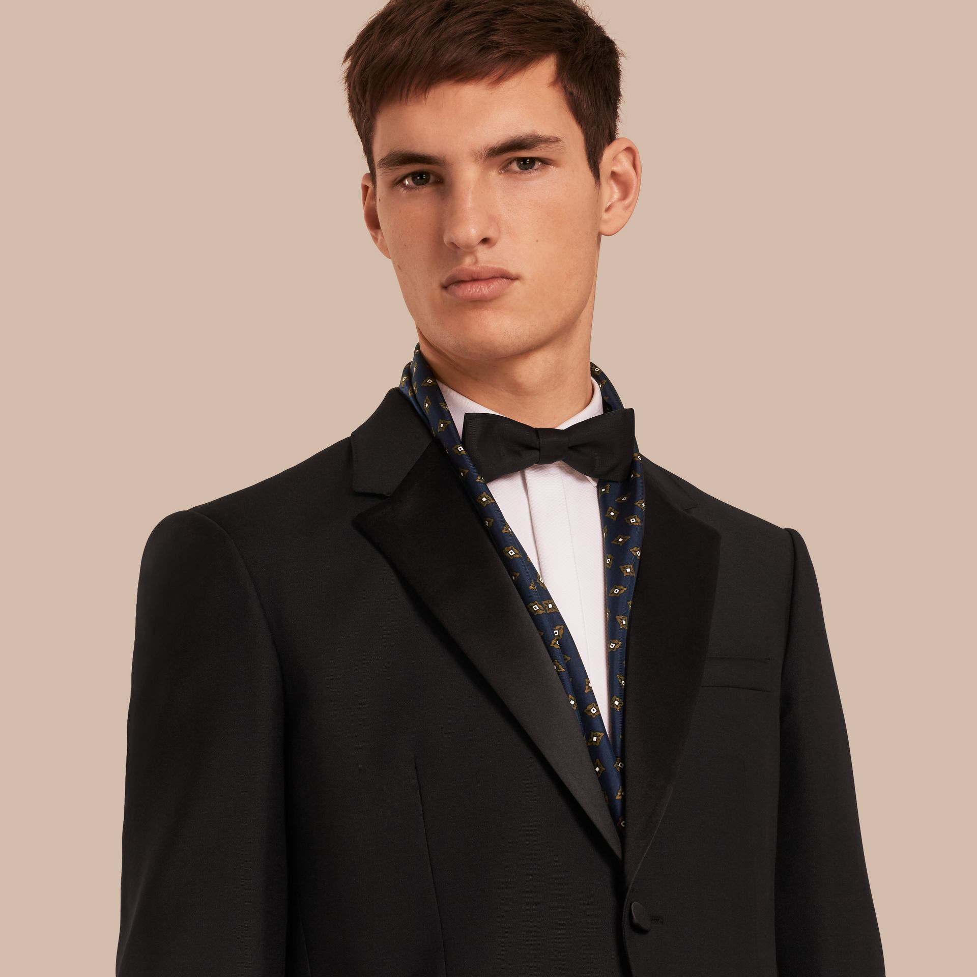 Black Classic Fit Wool Mohair Part-canvas Tuxedo - gallery image 1