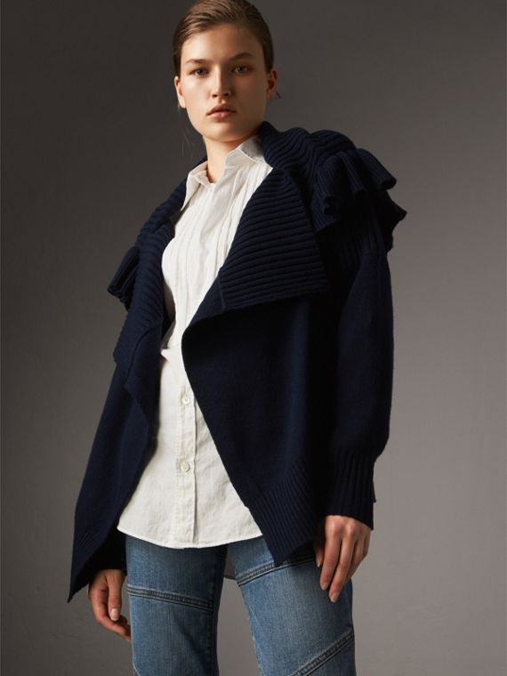 Ruffle Detail Wool Cashmere Cardigan - Women | Burberry