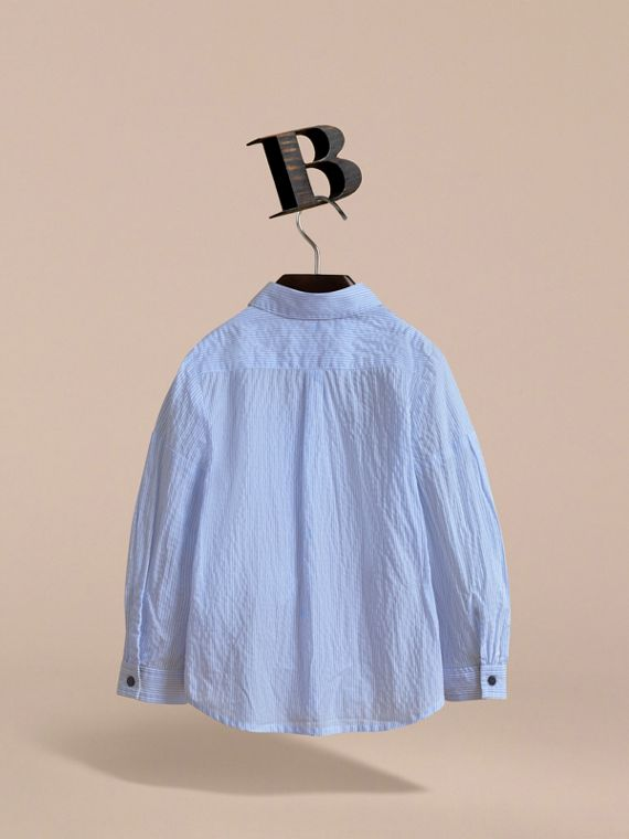 Bow Detail Striped Cotton Seersucker Shirt in Light Blue - Girl | Burberry - cell image 3