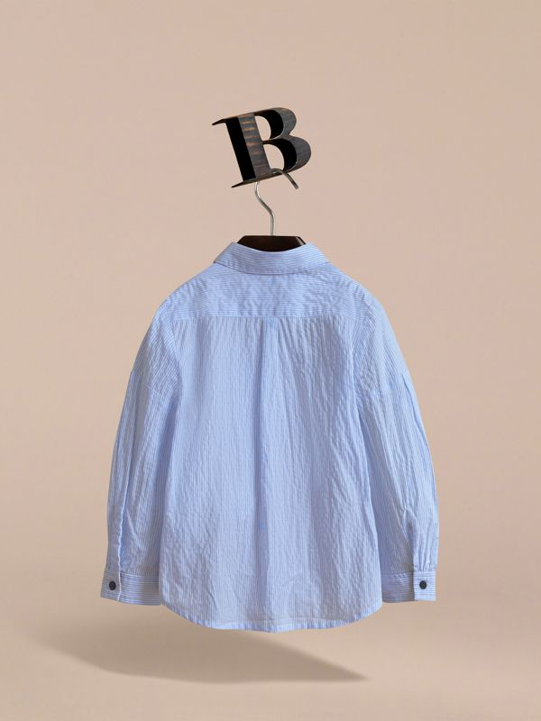 Bow Detail Striped Cotton Seersucker Shirt in Light Blue | Burberry - cell image 3