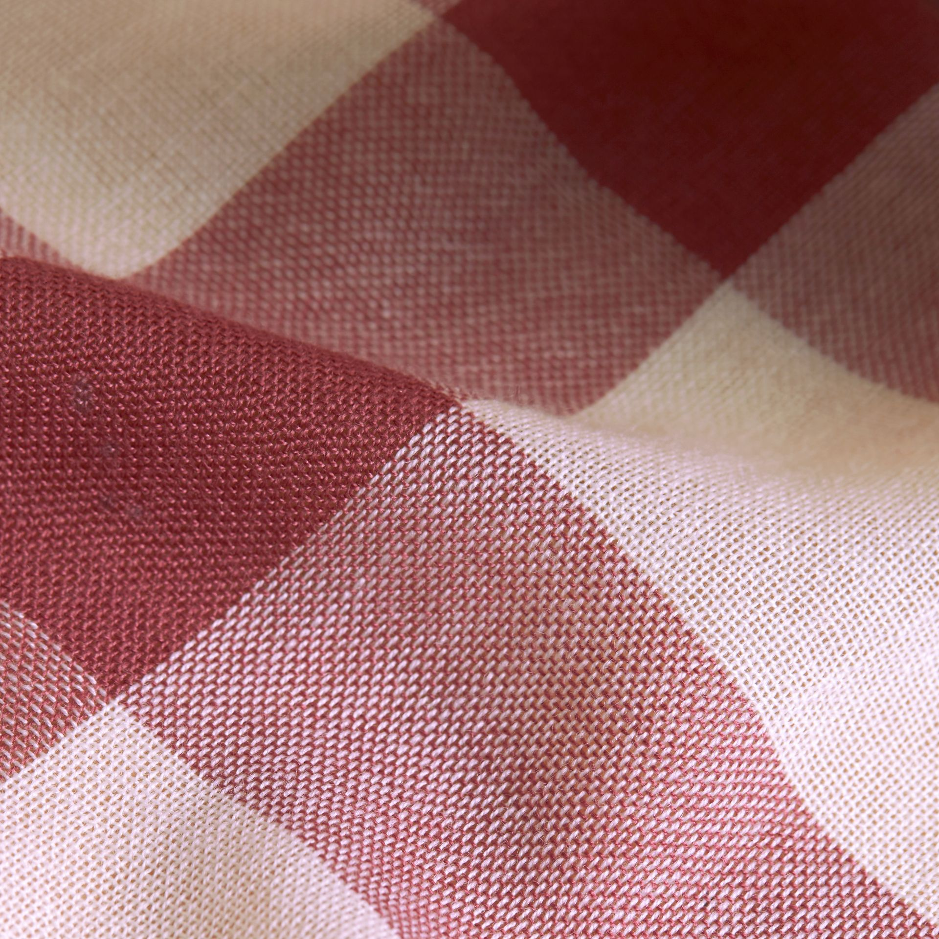 Lightweight Check Wool Cashmere Scarf in Chalk Pink | Burberry - gallery image 2