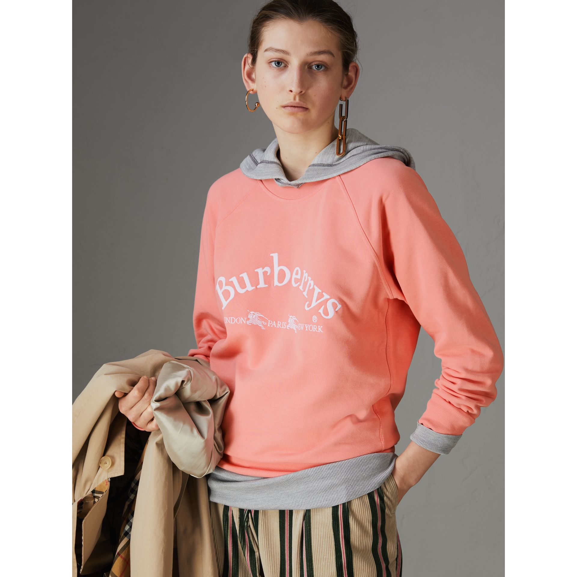 Embroidered Archive Logo Jersey Sweatshirt in Pale Apricot - Women | Burberry Singapore - gallery image 4