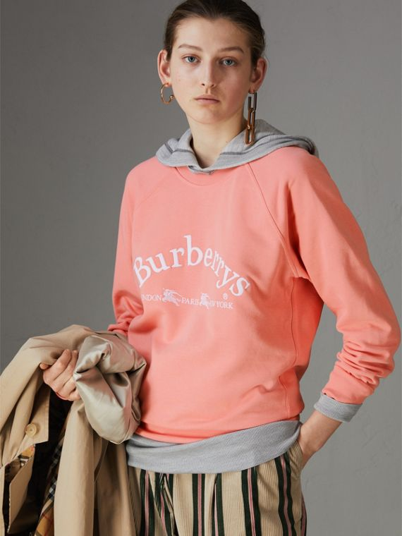 Embroidered Archive Logo Jersey Sweatshirt in Pale Apricot