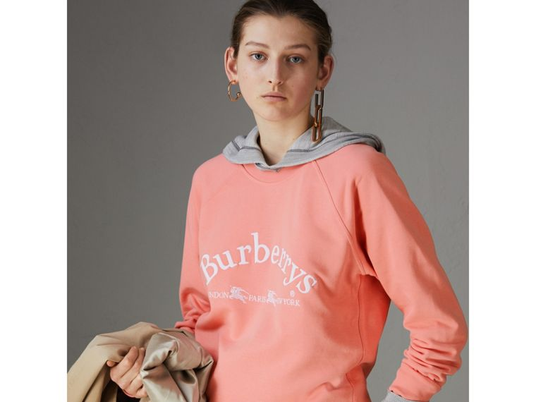 Embroidered Archive Logo Jersey Sweatshirt in Pale Apricot - Women | Burberry - cell image 4