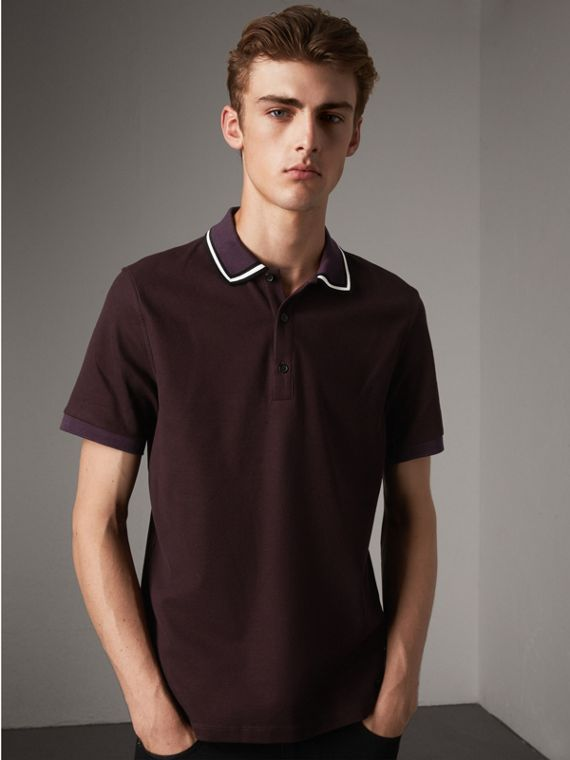 Striped Collar Cotton Piqué Polo Shirt in Blackcurrant