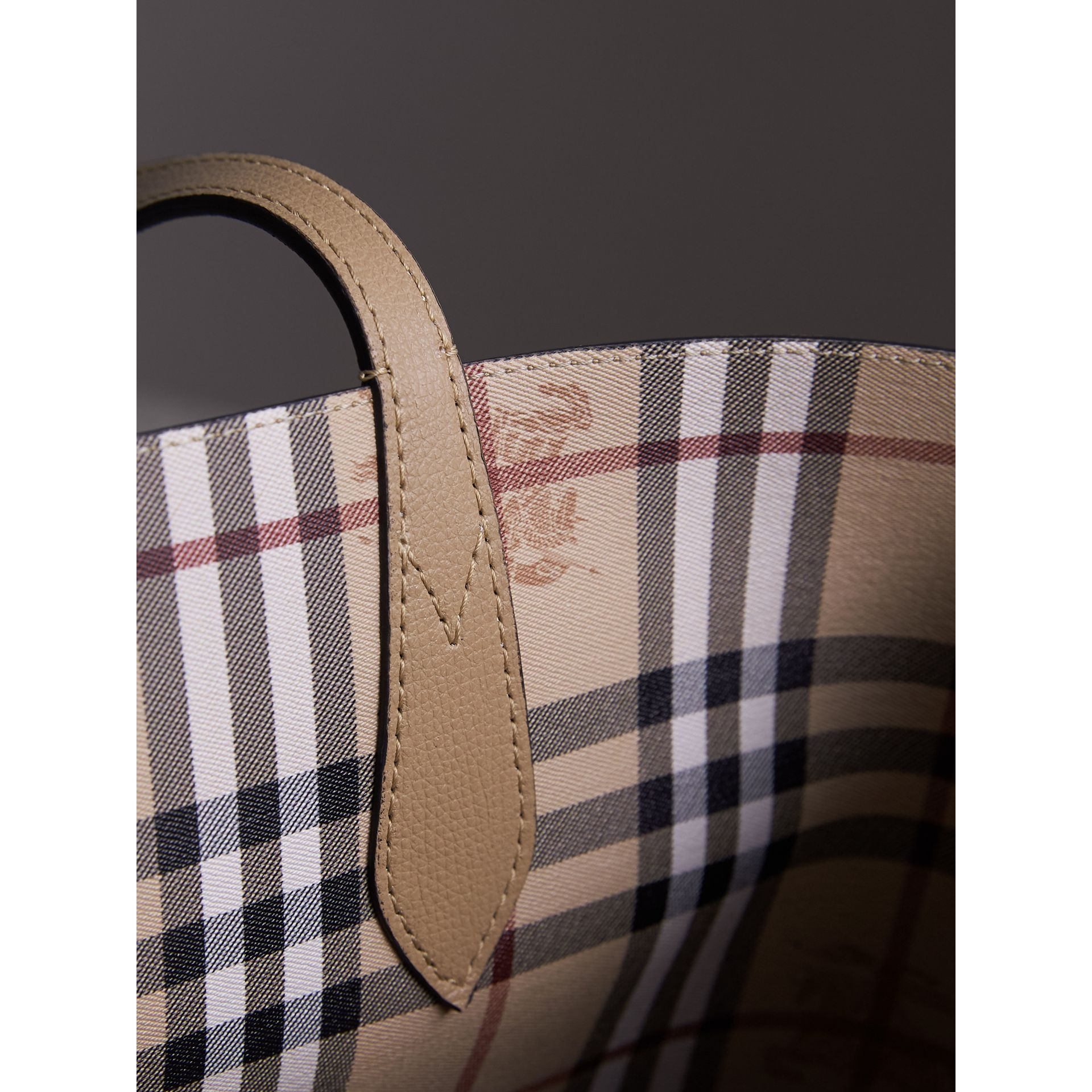 The Small Reversible Tote in Haymarket Check and Leather in Mid Camel - Women | Burberry - gallery image 2