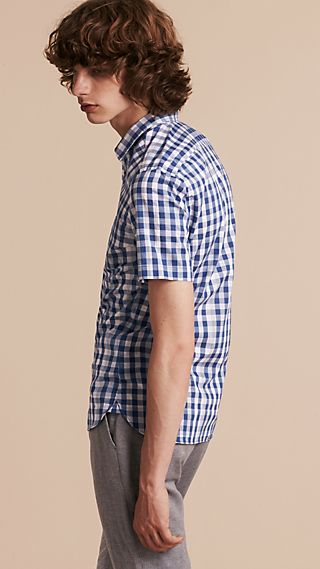 Short-sleeved Gingham Cotton Shirt