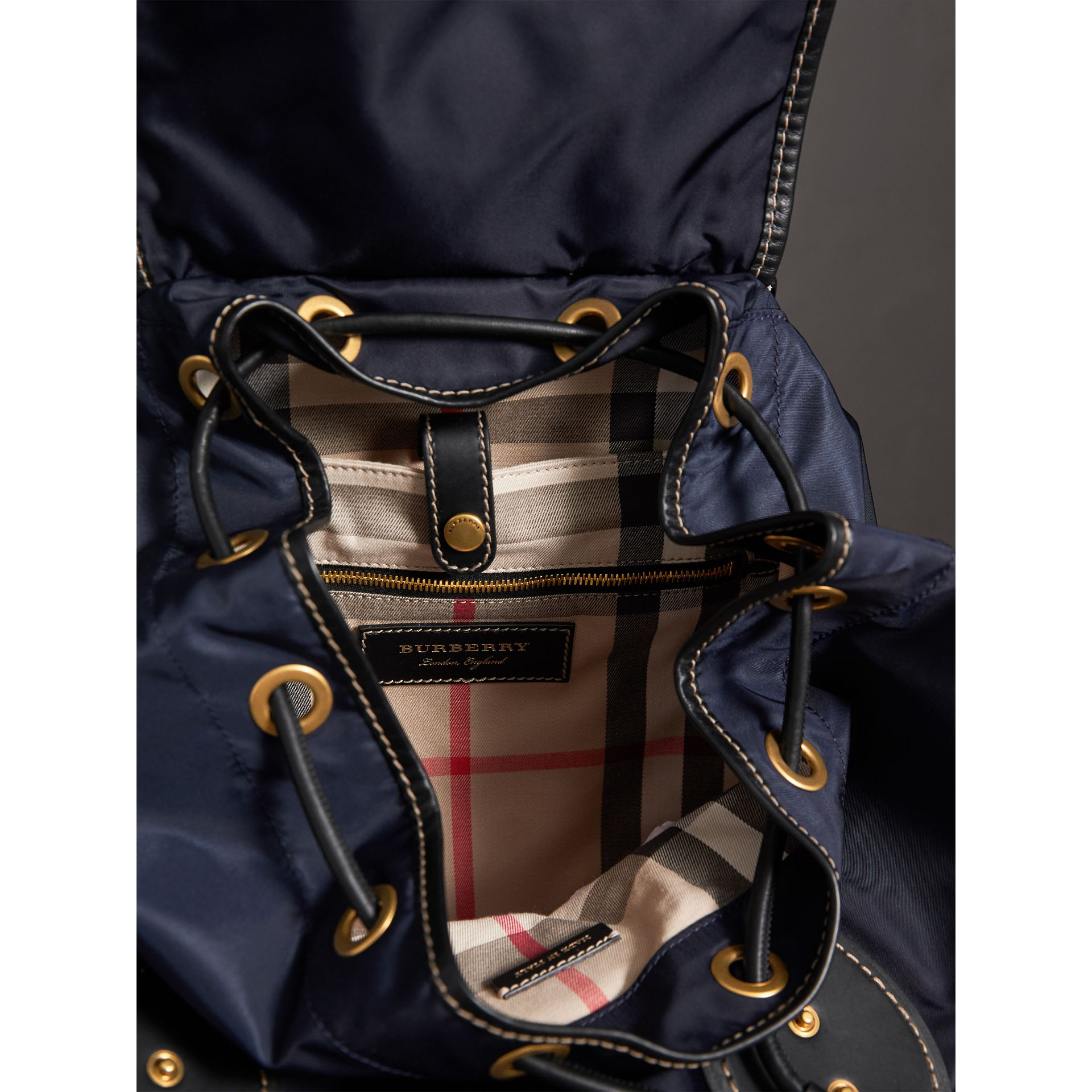 The Large Rucksack in Technical Nylon and Topstitched Leather in Dark Navy - Men | Burberry - gallery image 3