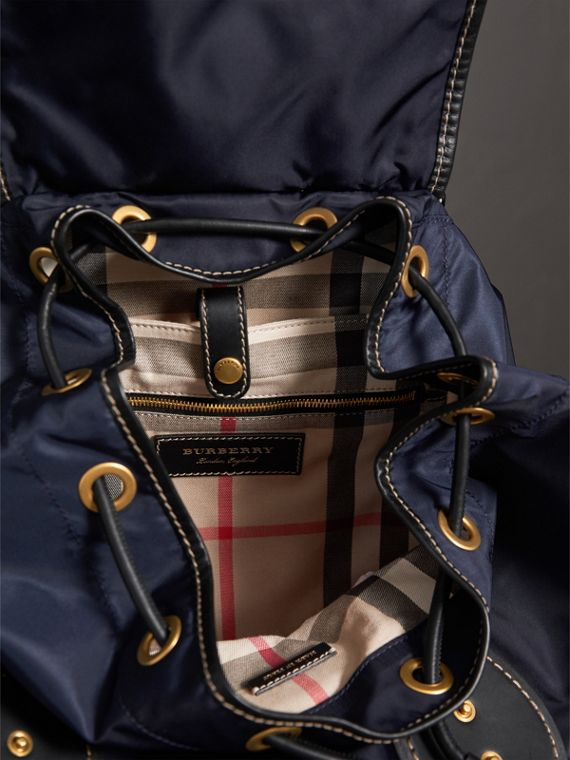The Large Rucksack in Technical Nylon and Topstitched Leather in Dark Navy - Men | Burberry - cell image 3