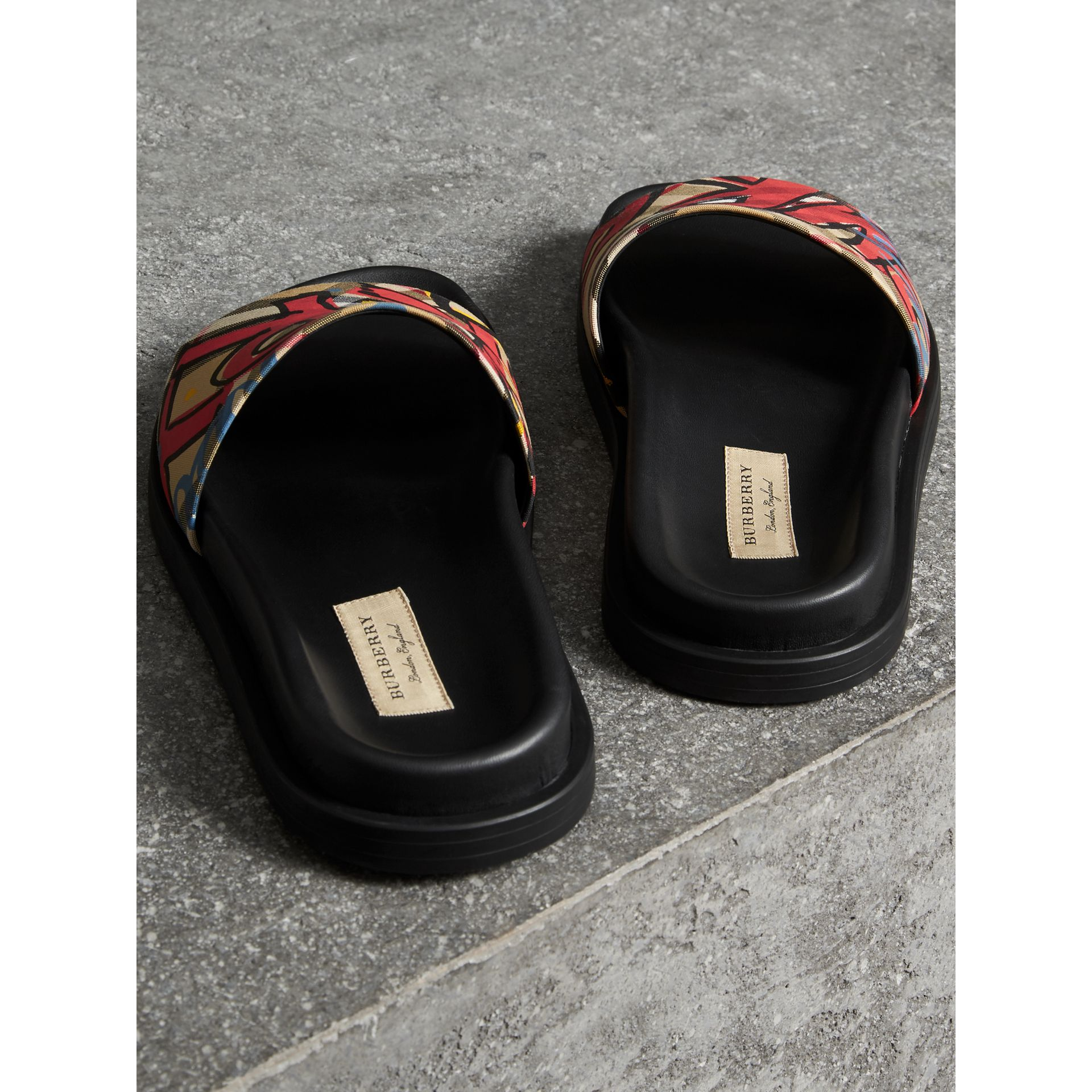 Graffiti Print Vintage Check and Leather Slides in Antique Yellow - Women | Burberry - gallery image 3