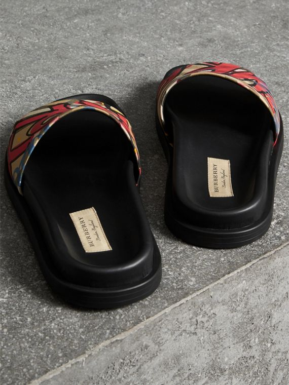 Graffiti Print Vintage Check and Leather Slides in Antique Yellow - Women | Burberry - cell image 3