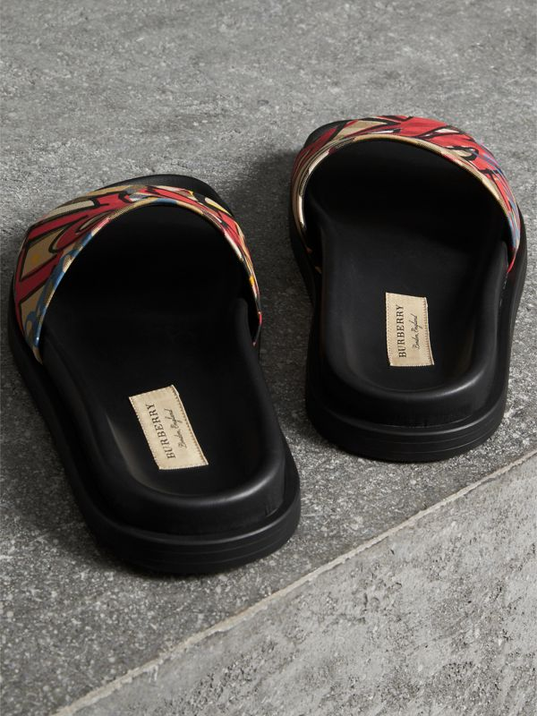 Graffiti Print Vintage Check and Leather Slides in Antique Yellow - Women | Burberry Australia - cell image 3