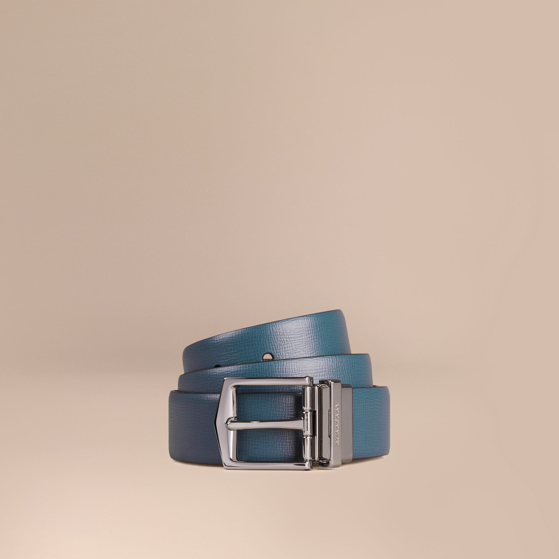 Reversible London Leather Belt Mineral Blue/black - gallery image 1