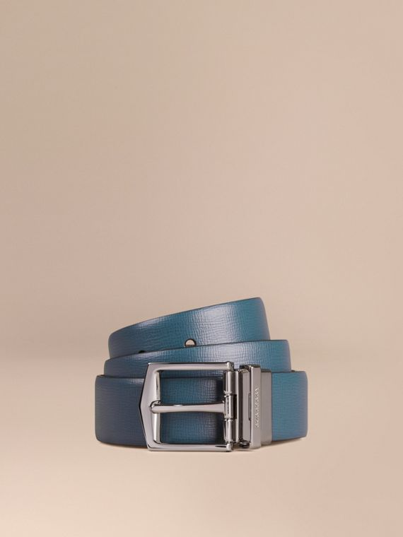Reversible London Leather Belt Mineral Blue/black