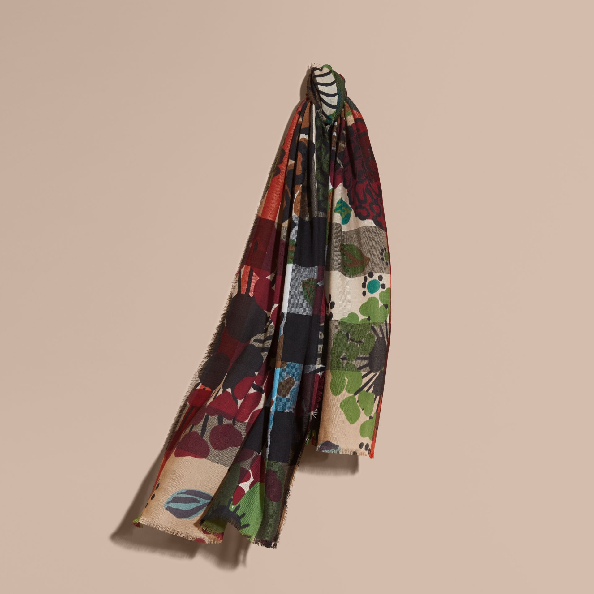 Damson pink The Lightweight Cashmere Scarf in Check and Floral Print - gallery image 6