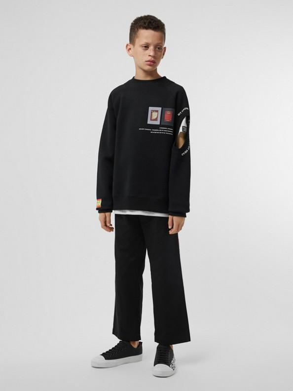 Suéter de algodão com estampa de montagem e detalhe vazado (Preto)