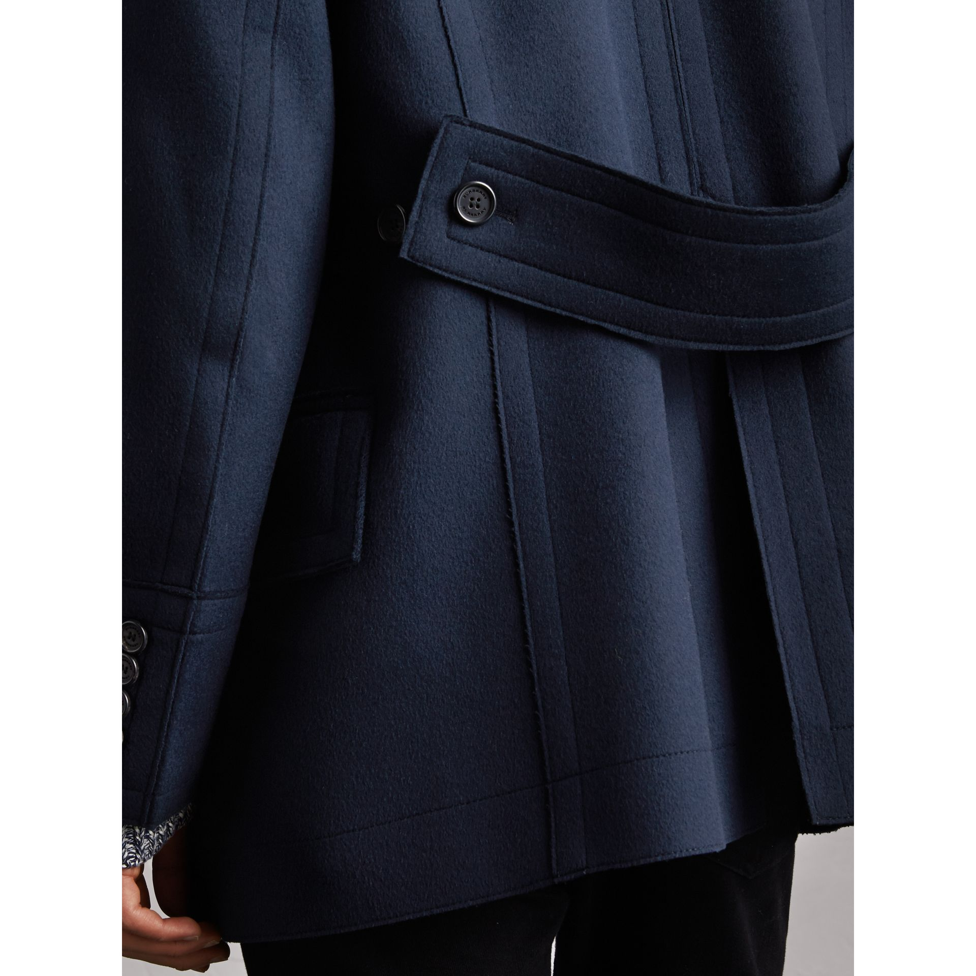 Resin Button Wool Pea Coat in Military Navy - Men | Burberry - gallery image 5