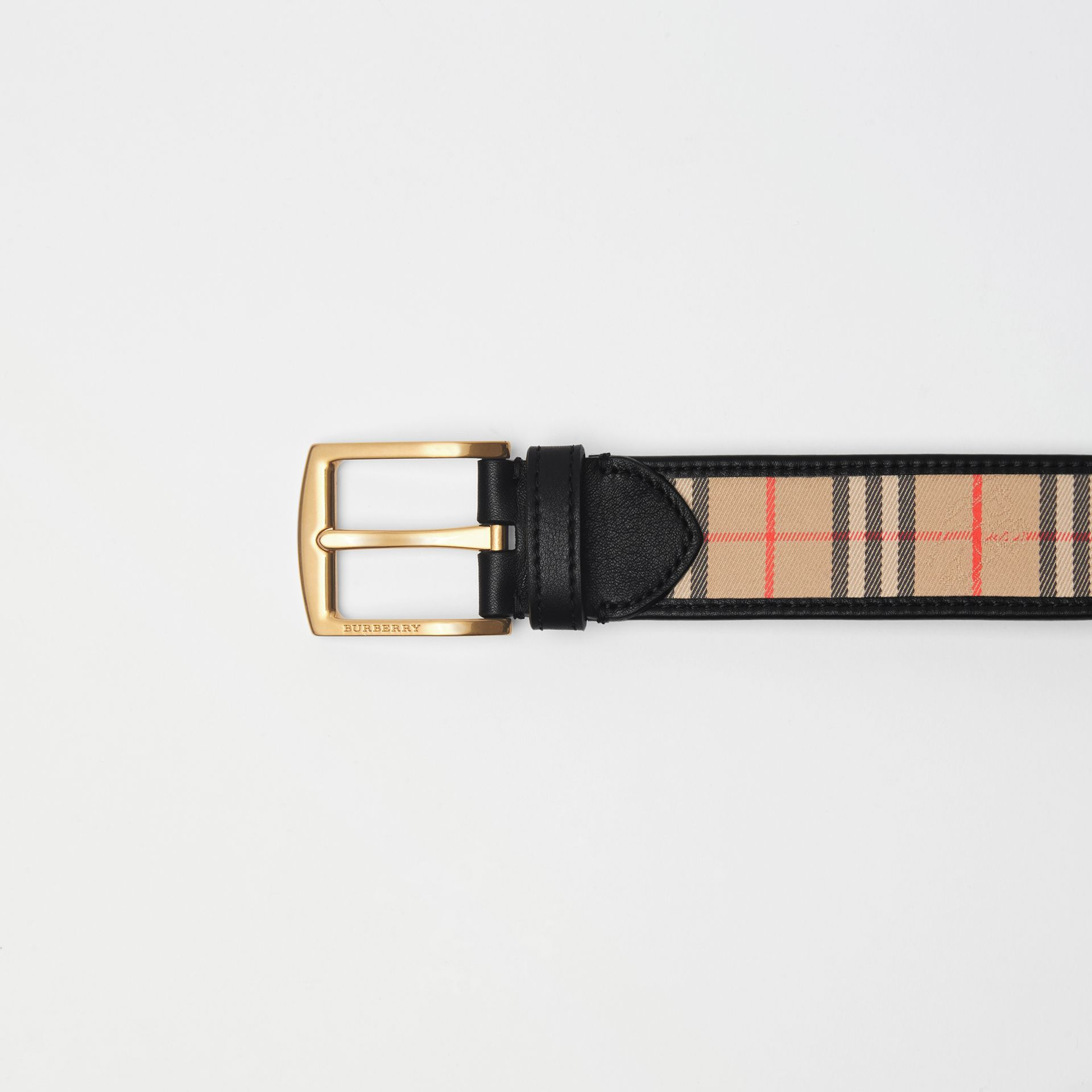 1983 Check and Leather Belt in Black - Men | Burberry Singapore - gallery image 1