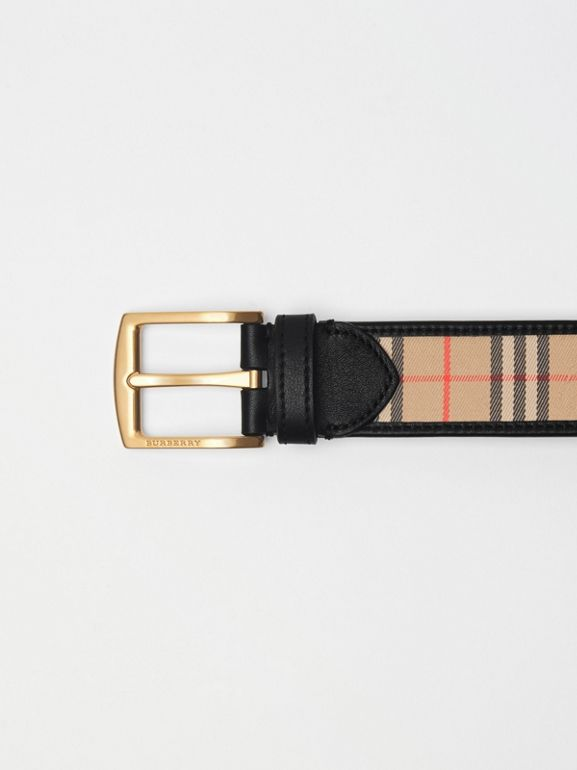 1983 Check and Leather Belt in Black - Men | Burberry Singapore - cell image 1