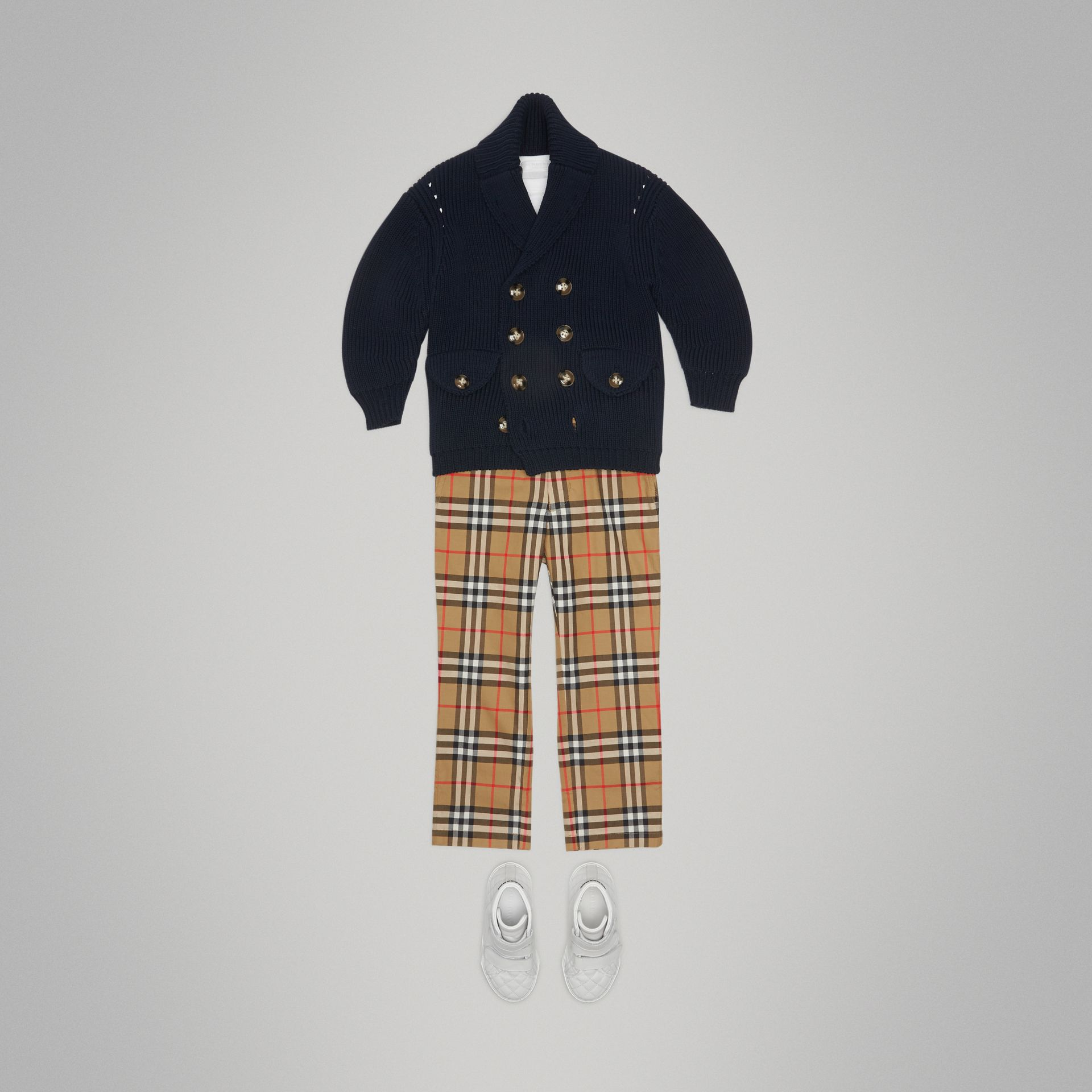 Vintage Check Cotton Tailored Trousers in Antique Yellow - Boy | Burberry - gallery image 2