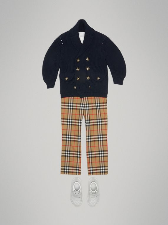 Vintage Check Cotton Tailored Trousers in Antique Yellow - Boy | Burberry United States - cell image 2