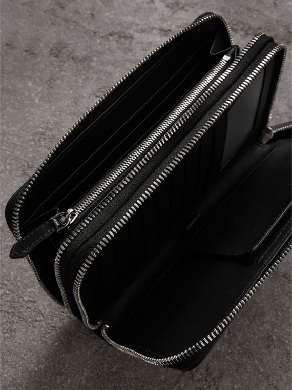 London Leather Travel Wallet in Black - Men | Burberry Canada - cell image 3