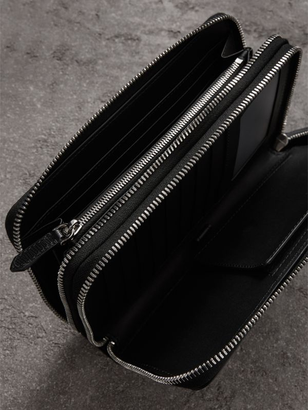 London Leather Travel Wallet in Black - Men | Burberry - cell image 3
