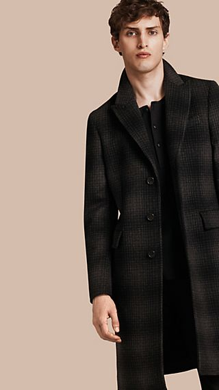 Tailored Check Wool Cashmere Coat