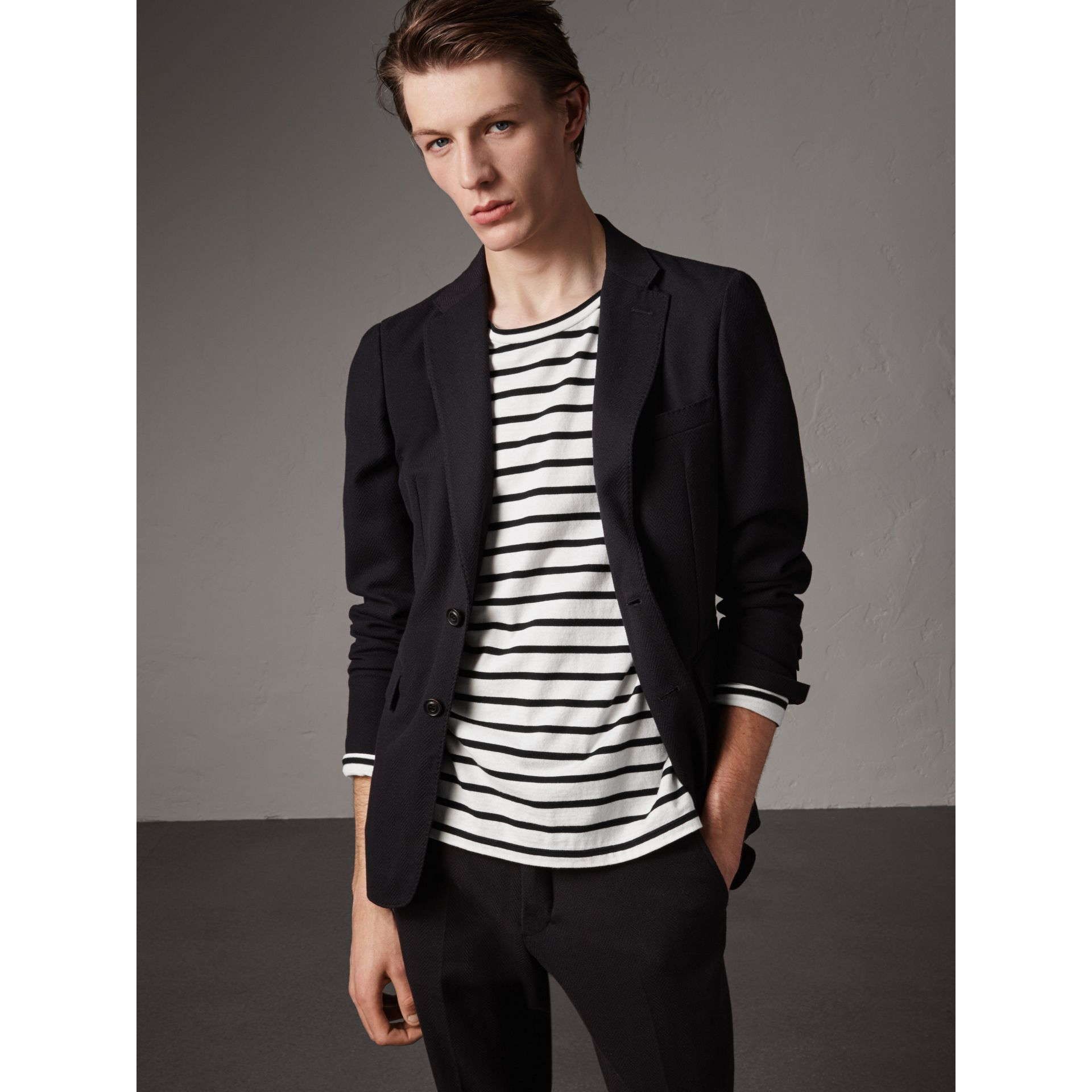 Soho Fit Herringbone Cotton Blend Jacket in Navy - Men | Burberry Singapore - gallery image 6