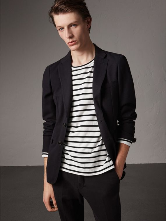 Soho Fit Herringbone Cotton Blend Jacket in Navy