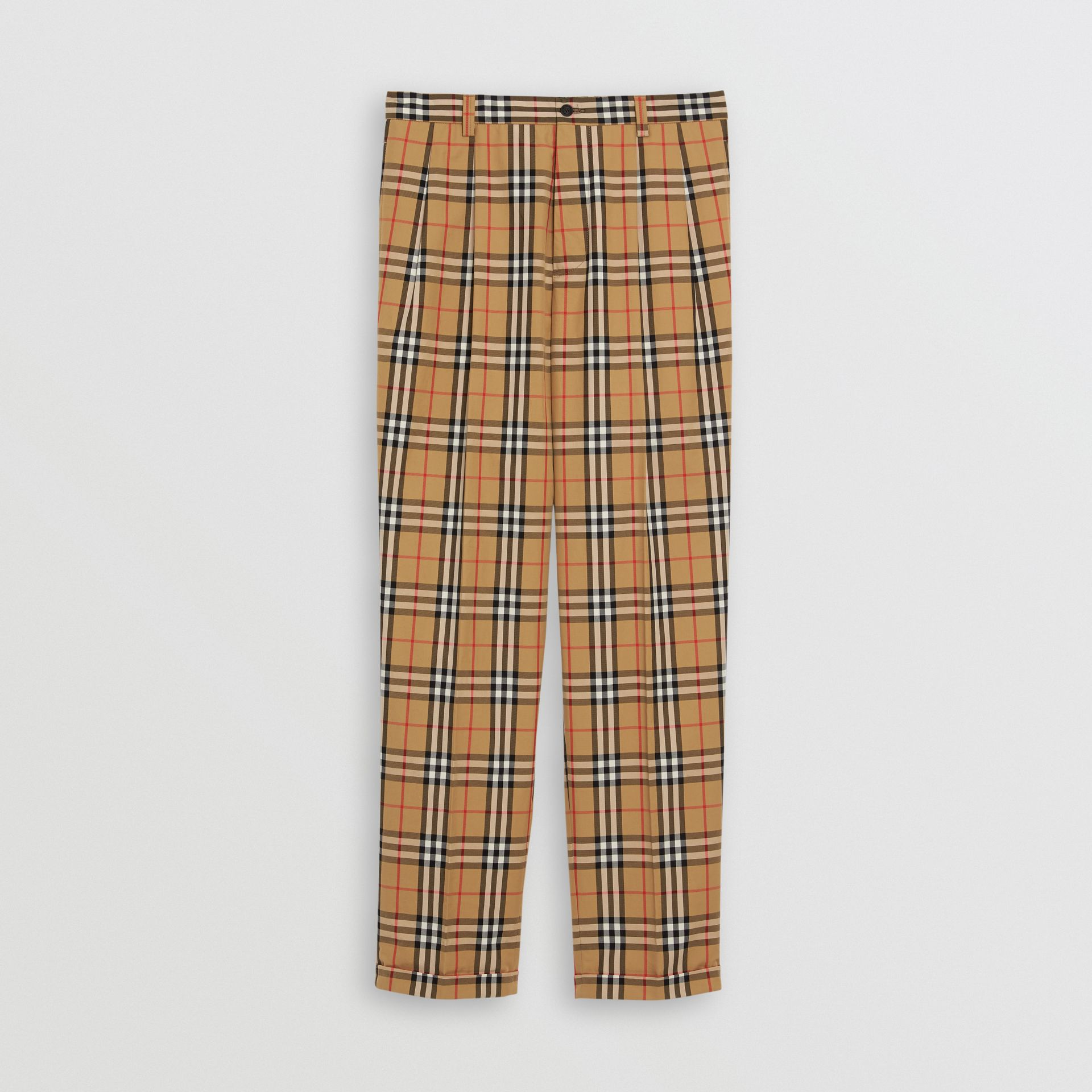 Pantalon en coton à motif Vintage check (Jaune Antique) - Homme | Burberry Canada - photo de la galerie 3