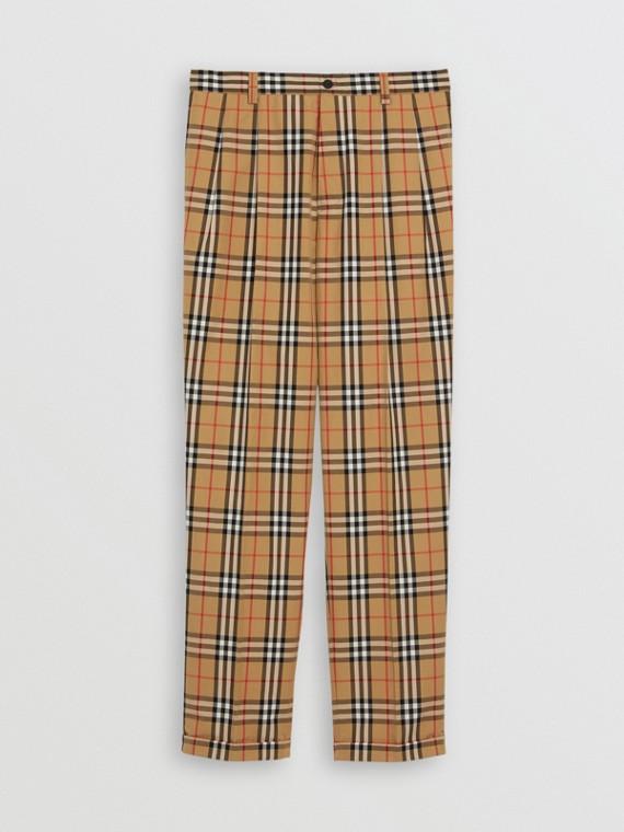 Pantalon en coton à motif Vintage check (Jaune Antique)