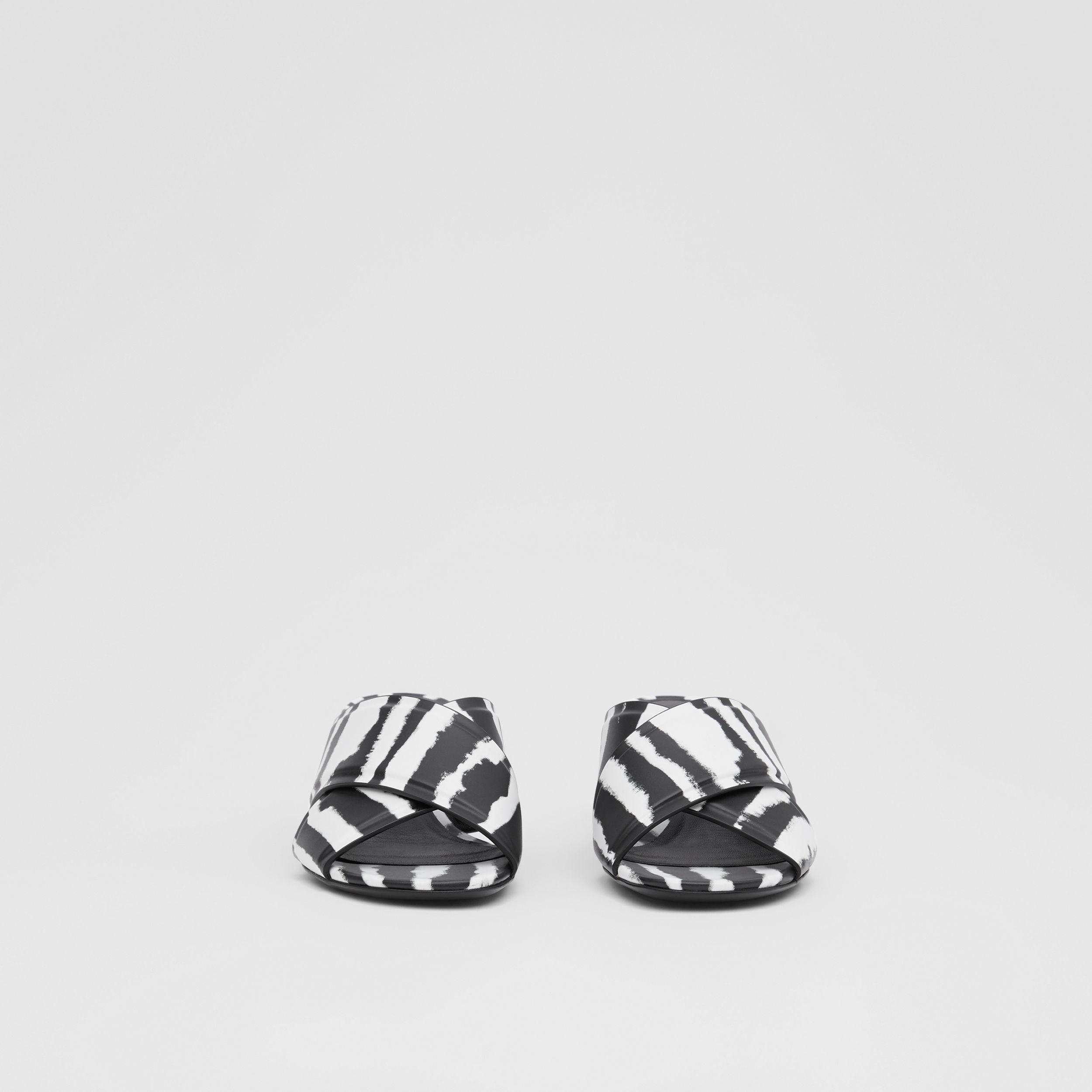 Watercolour Print Leather Block-heel Sandals in Black/white - Women | Burberry Hong Kong S.A.R. - 3