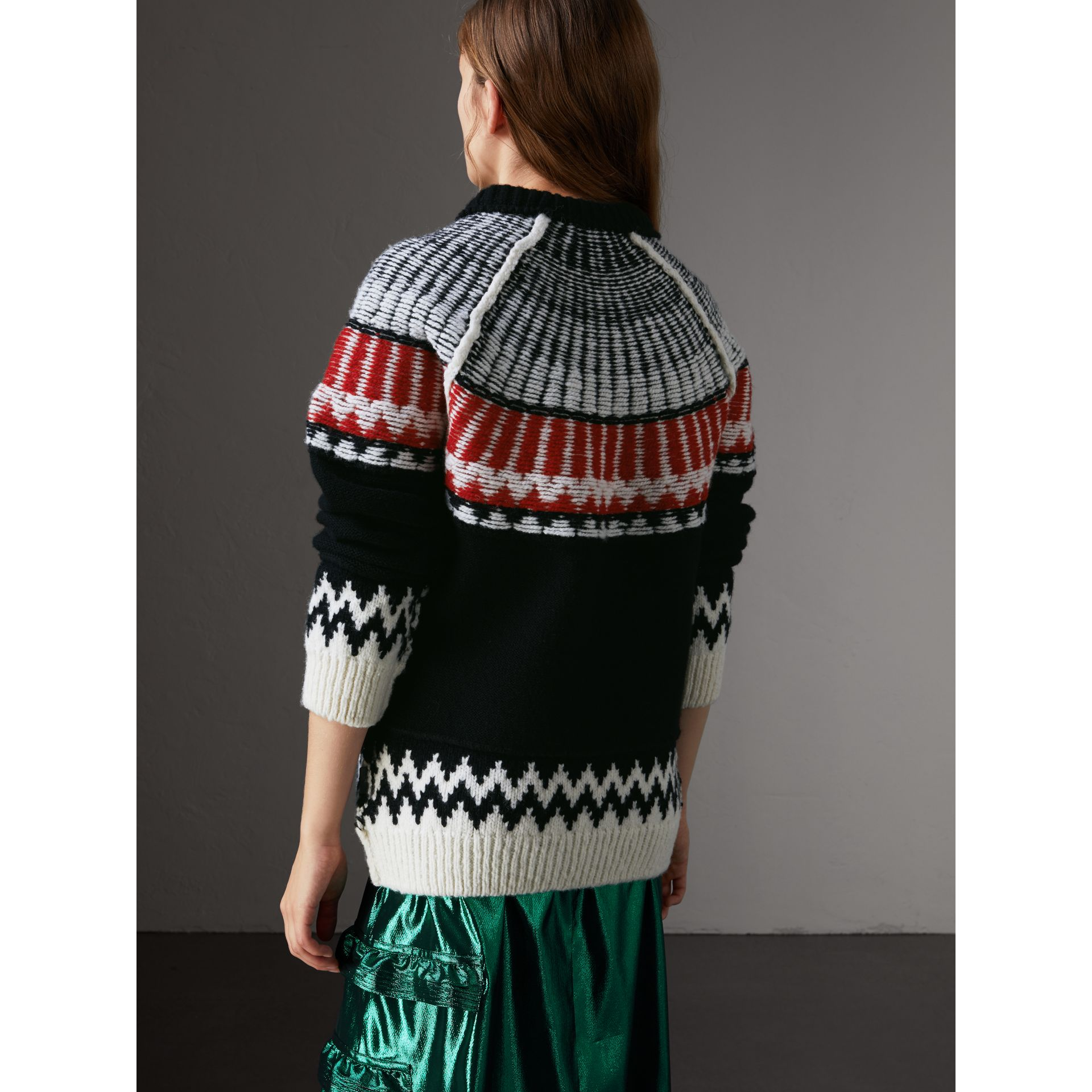Fair Isle Wool Cashmere Sweater in Black/ Military Red - Women | Burberry - gallery image 3