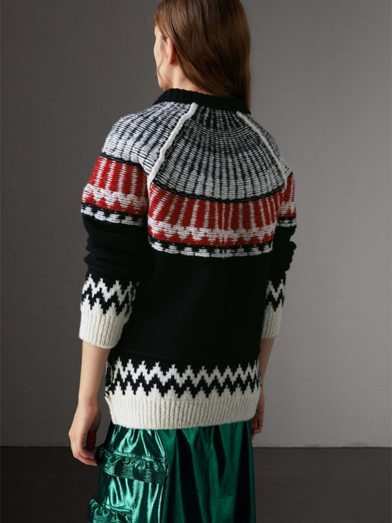 Fair Isle Wool Cashmere Sweater in Black/ Military Red - Women | Burberry - cell image 2