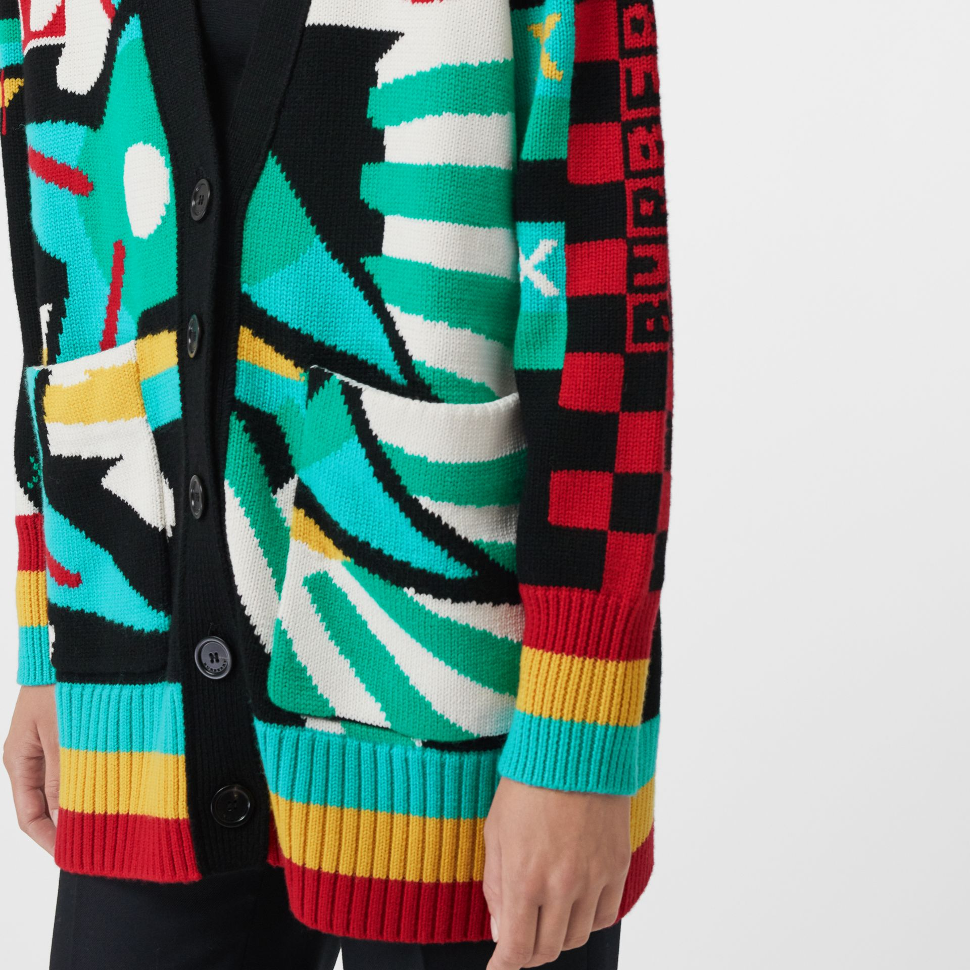 Graphic Intarsia Merino Wool Cotton Cardigan in Multicolour - Women | Burberry - gallery image 1