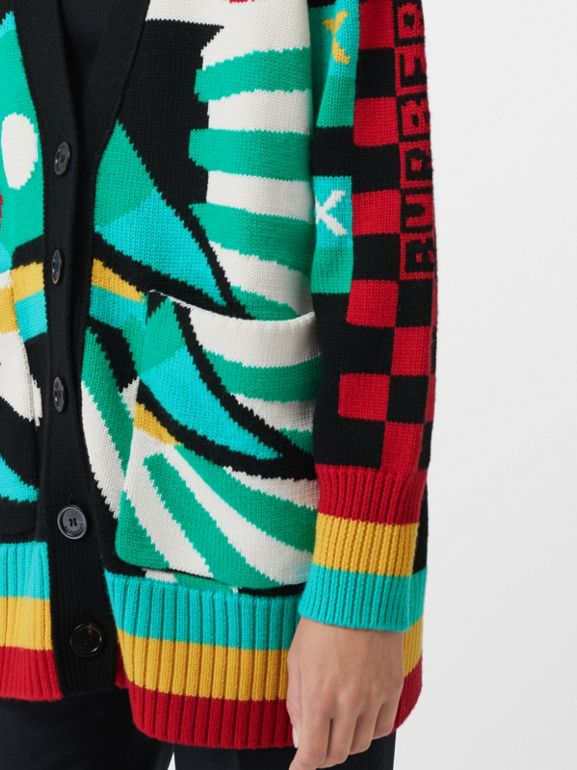 Graphic Intarsia Merino Wool Cotton Cardigan in Multicolour - Women | Burberry - cell image 1