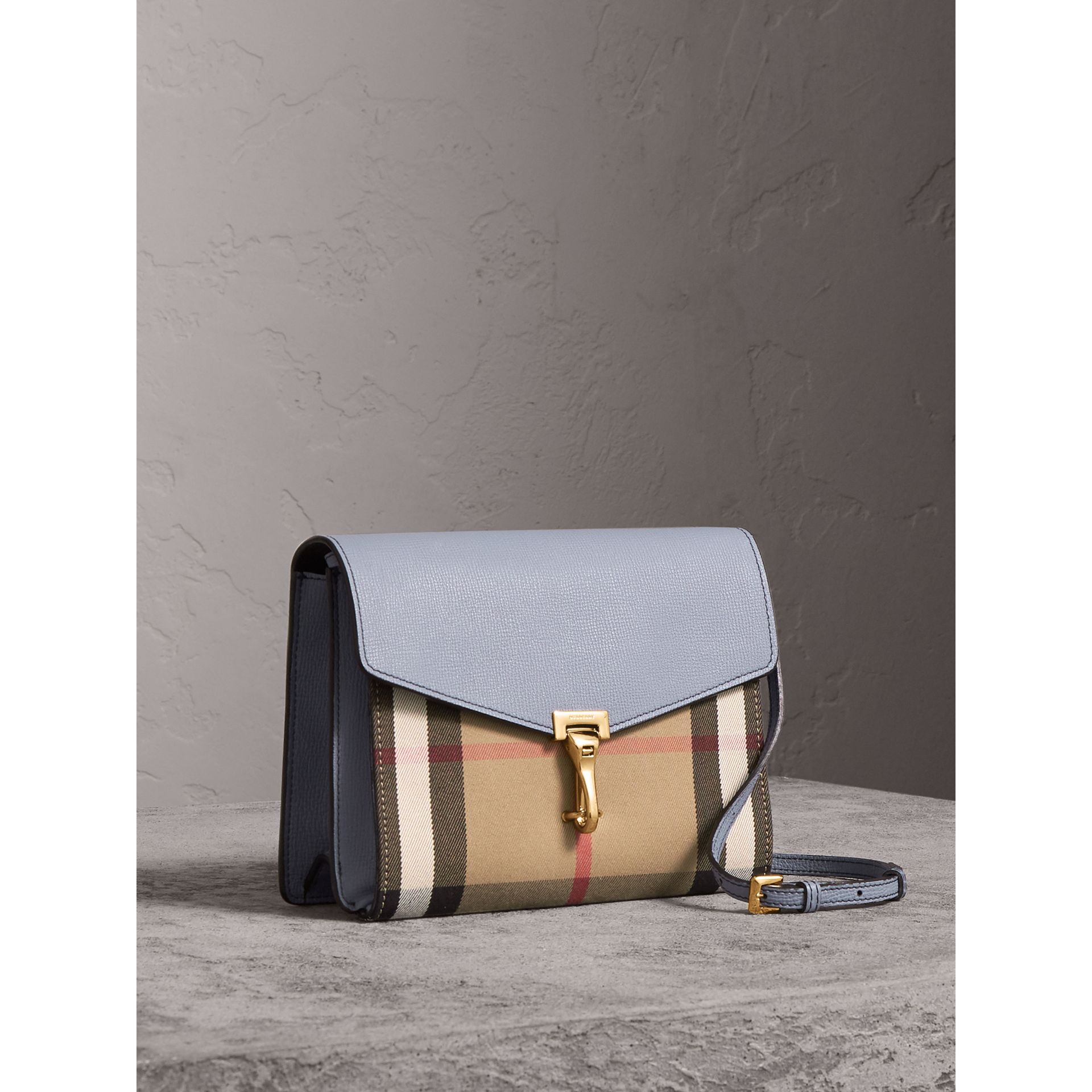 Small Leather and House Check Crossbody Bag in Slate Blue - Women | Burberry - gallery image 8
