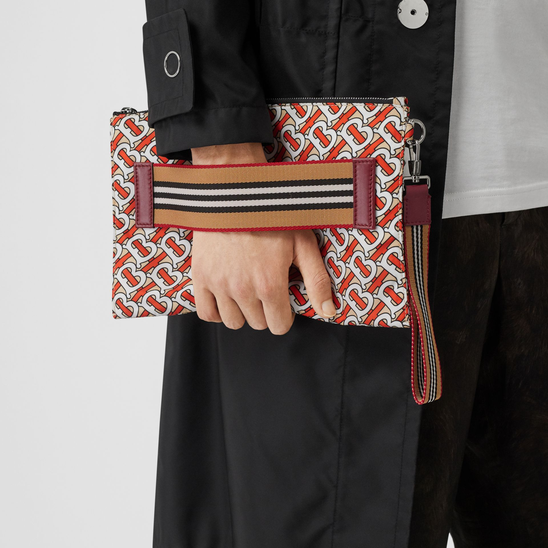 Monogram Print Zip Pouch in Vermilion | Burberry Canada - gallery image 2