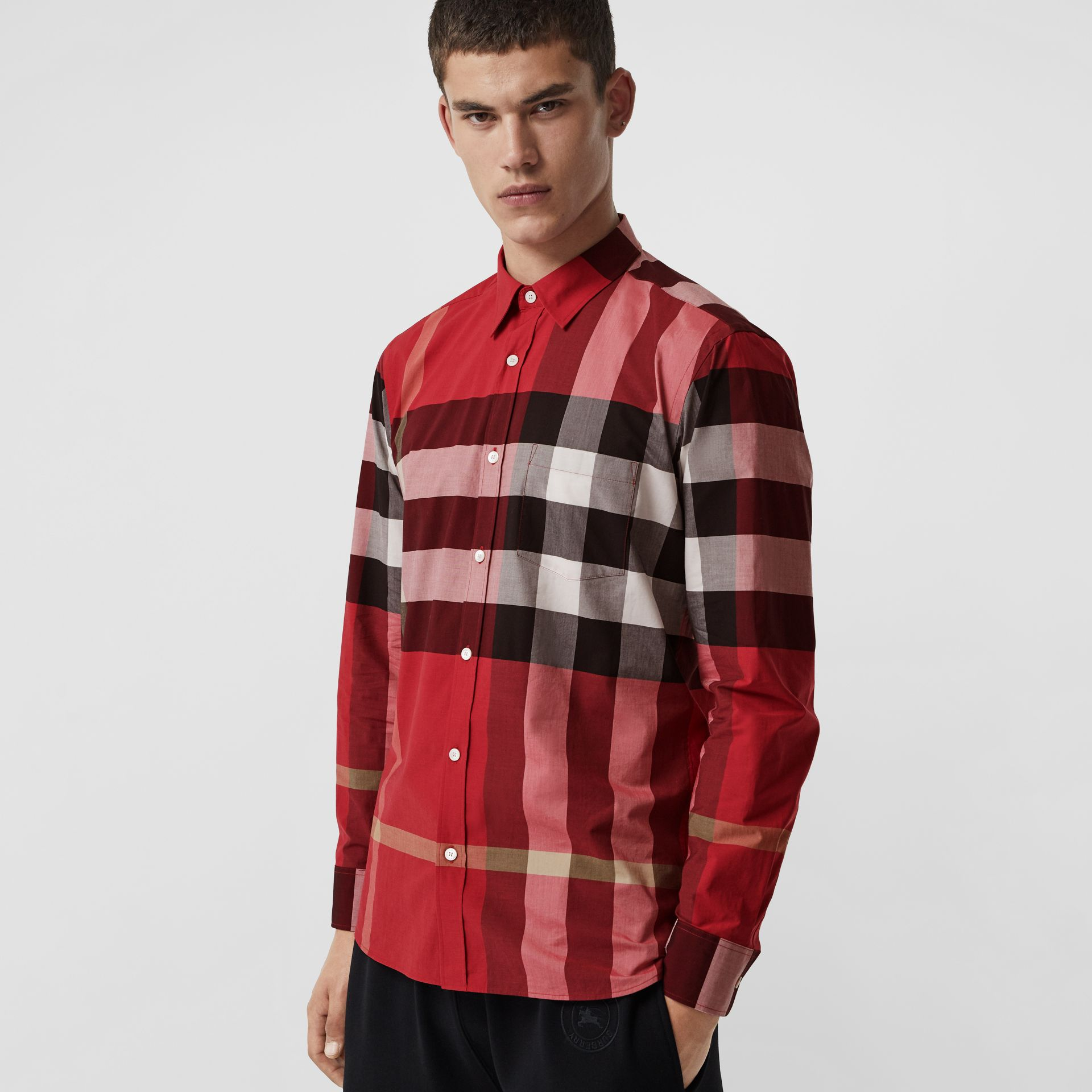 Check Stretch Cotton Shirt in Parade Red - Men | Burberry United Kingdom - gallery image 0